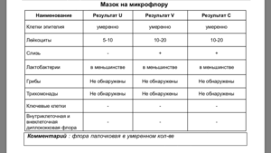 Анализ мазка на флору расшифровка