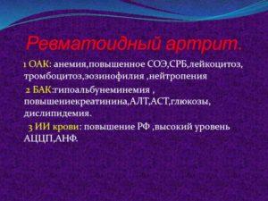 Высокое значение СОЭ при нормальном значении СРБ