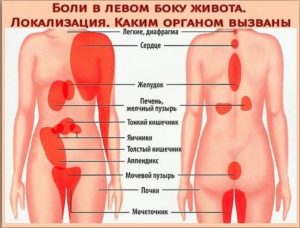Точечная боль в левом нижнем ребре